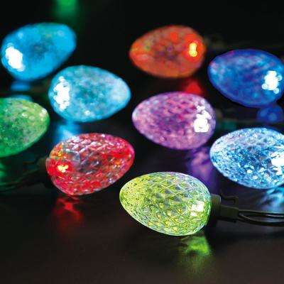 31.5 ft. 24-Light RGB LED Color Blast Remote Controlled C12 Faceted String Lights