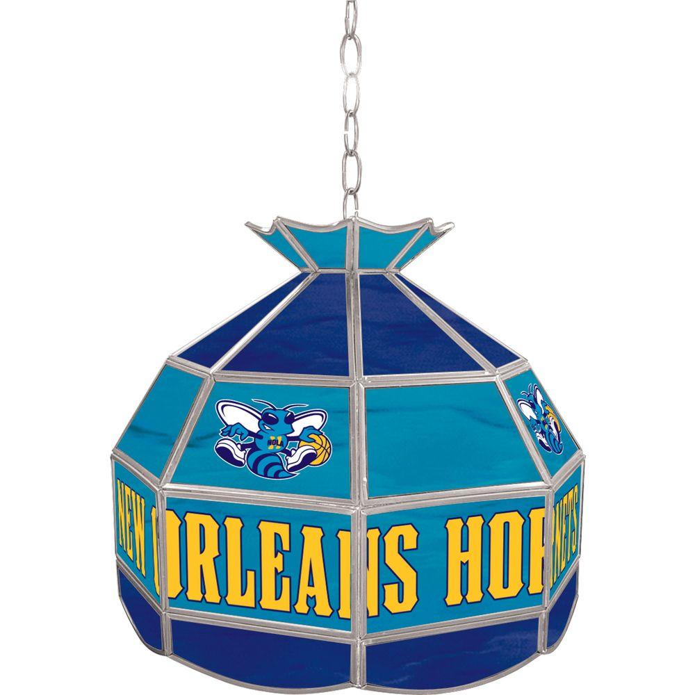 Trademark New Orleans Hornets NBA 16 in. Nickel Hanging Tiffany Style Lamp