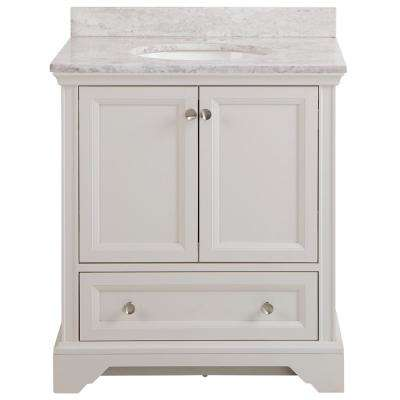 Stratfield 31 in. W x 22 in. D Bathroom Vanity in Cream with Stone Effect Vanity Top in Winter Mist with White Sink