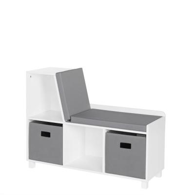 Kids White Storage Bench with Cubbies with 2pc Gray Bins