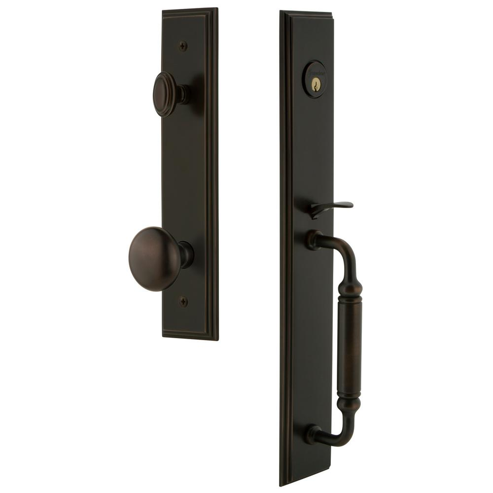 Carre Timeless Bronze 1-Piece Dummy Door Handleset with C-Grip and Fifth