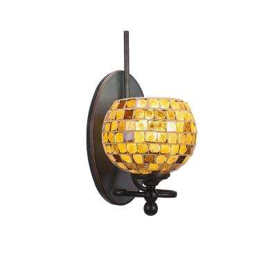 1-Light Dark Granite Sconce with Copper Cracked Glass