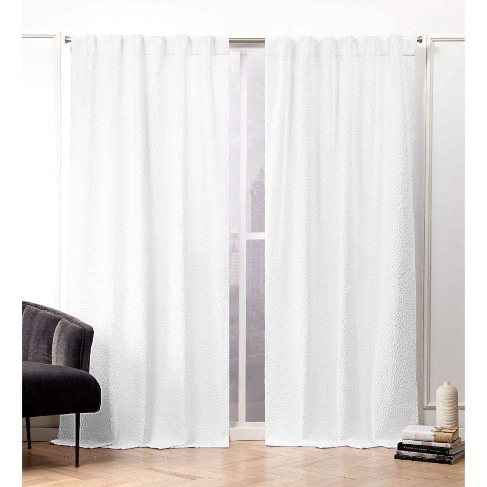 Textured Matelass White Room Darkening Hidden Tab Top Curtain Panel -  50 in. W x 96 in. L  (2-Panel)