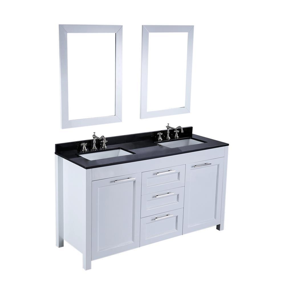 Bosconi 60.2 in. W Double Bath Vanity in White with Black Granite Vanity Top in Black White Basin and Mirror