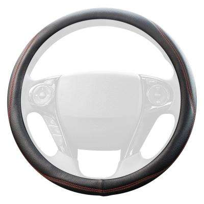 Genuine Leather Steering Wheel Cover Black with Red Stitching