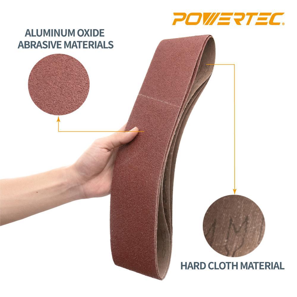 "6 Pack 4/"" x 21/"" Inch 100 Grit Aluminum Oxide Sanding Belt Kit Metal or Wood"