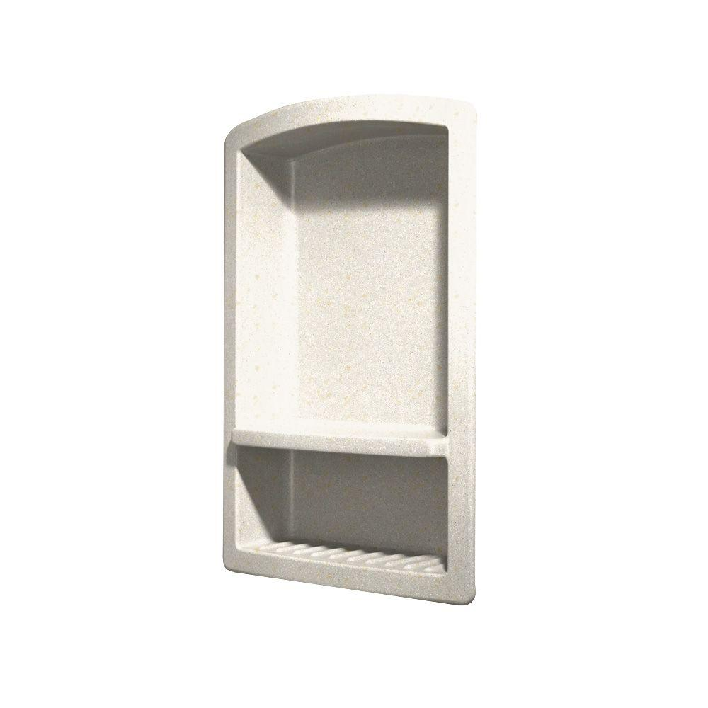 Swan Recessed Wall-Mount Solid Surface Soap Dish and Accessory Shelf in Baby's Breath