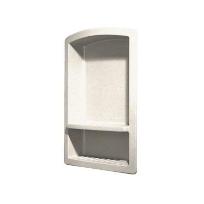 Recessed Wall-Mount Solid Surface Soap Dish and Accessory Shelf in Baby's Breath