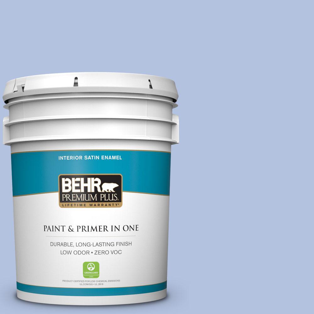 BEHR Premium Plus 5-gal. #600C-3 Periwinkle Bud Zero VOC Satin Enamel Interior Paint