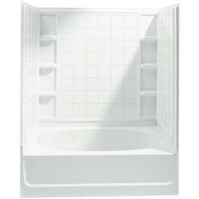 Ensemble 60 in. x 36 in. x 72 in. Bath and Shower Kit with Right-Hand Drain in White