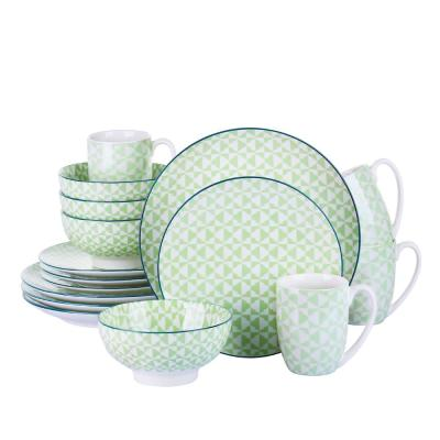 16-Piece Patterned Green Porcelain Dinnerware Set (Service for 4)