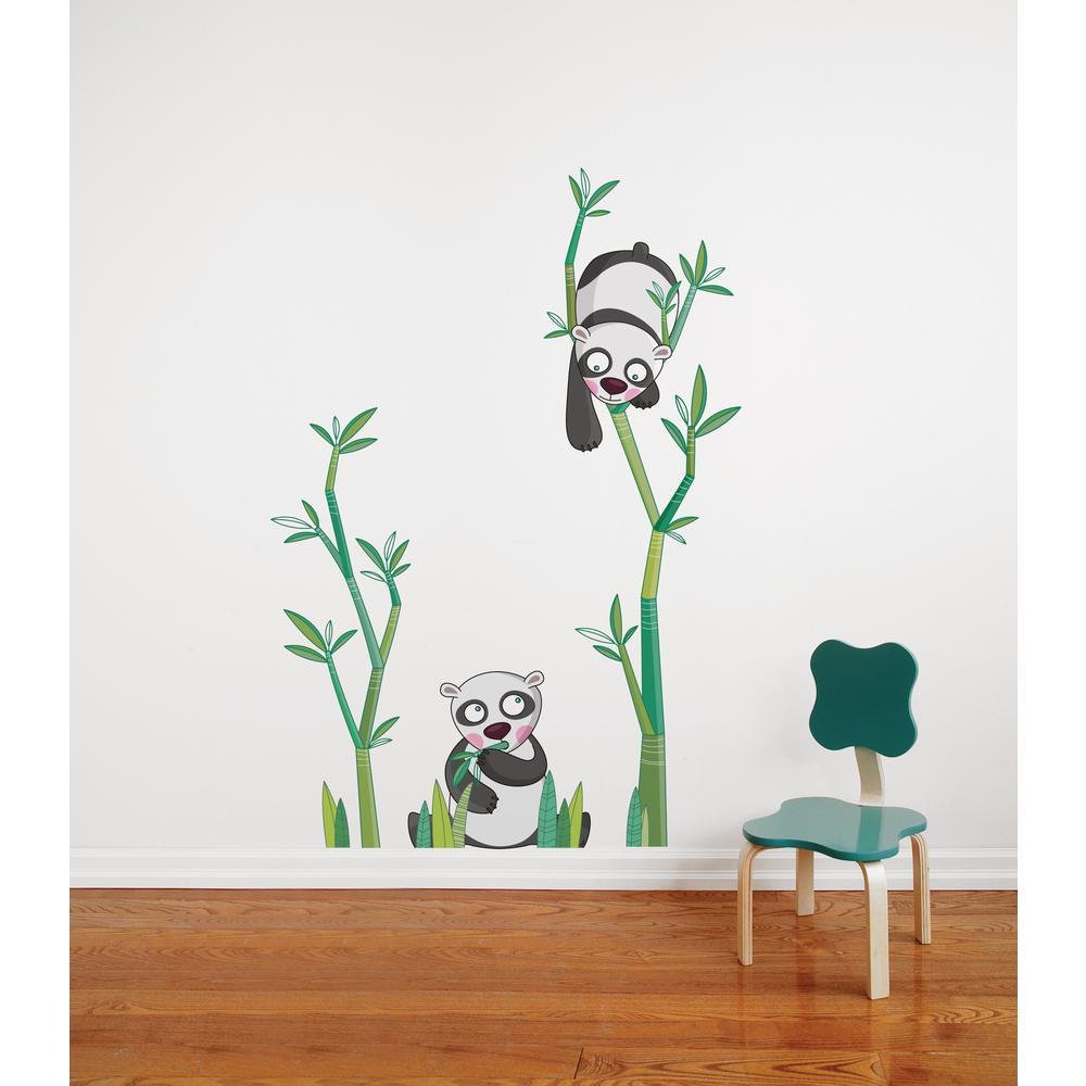 Adzif (36.7 in x 54.2 in) Multi-Color ''Panda's Meal'' Kids Wall