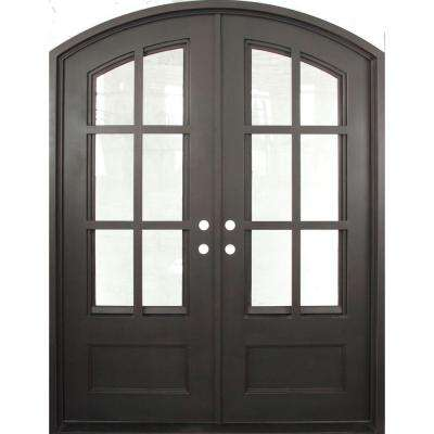 74 in. x 97.5 in. Craftsman Classic Clear 3/4 Lite Painted Oil Rubbed Bronze Wrought Iron Prehung Front Door