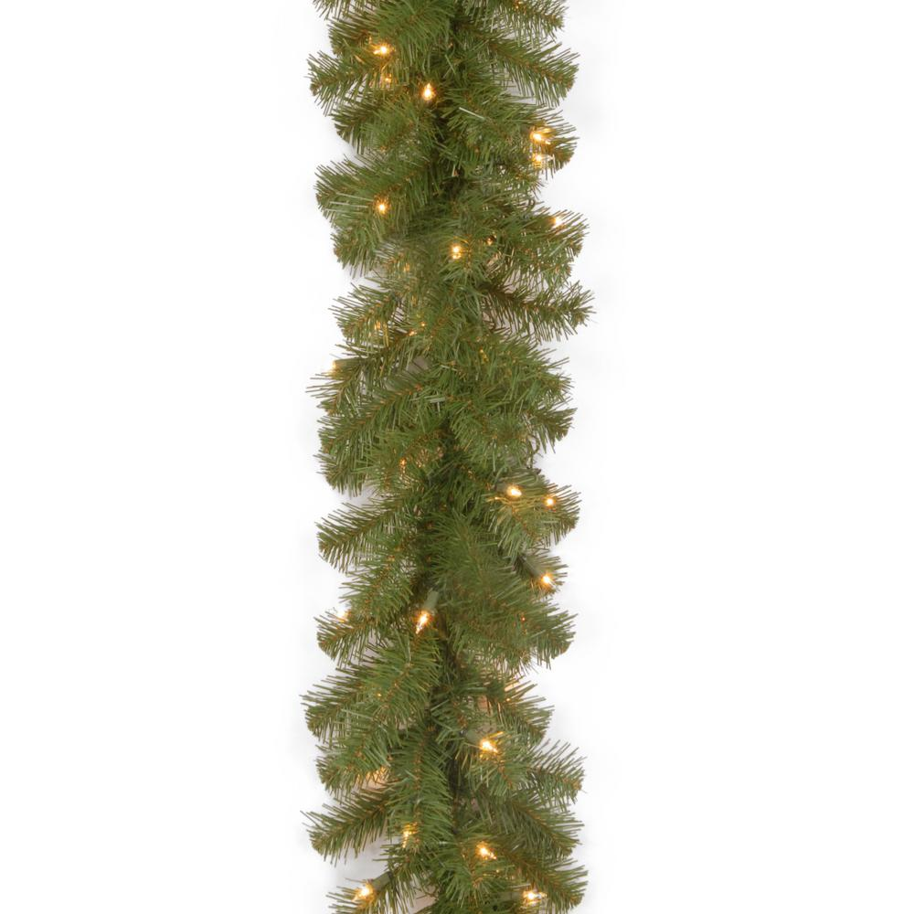 9 ft. North Valley Spruce Garland with Clear Lights