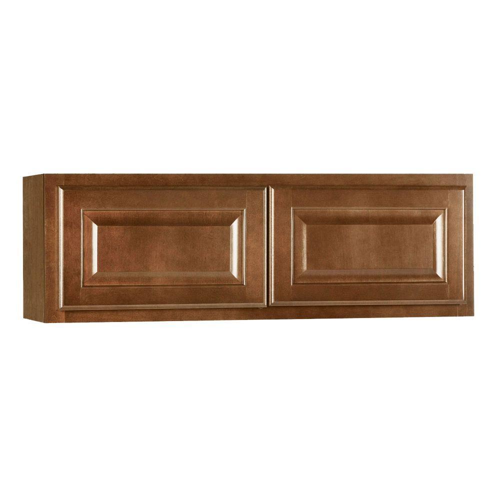 Hampton Bay Hampton Assembled 30x12x12 in. Wall Bridge Kitchen Cabinet in Cognac