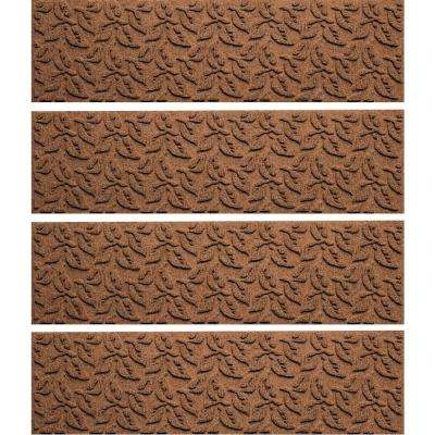 Dark Brown 8.5in x 30in. Dogwood Leaf Stair Tread Cover (Set of 4)