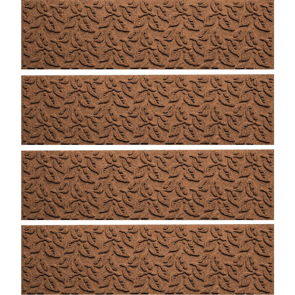Dark Brown 8.5in x 30in. Dogwood Leaf Stair Tread Cover (Set