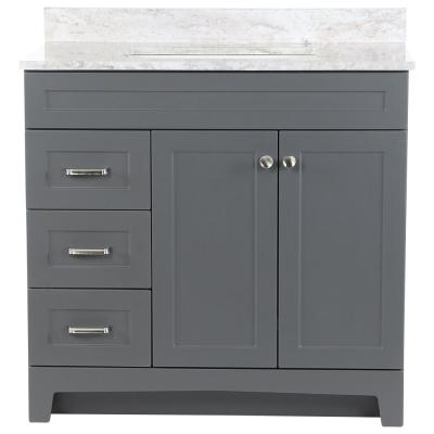 Thornbriar 37 in. W x 22 in. D Vanity in Cement with Stone Effects Vanity Top in Winter Mist with White Sink