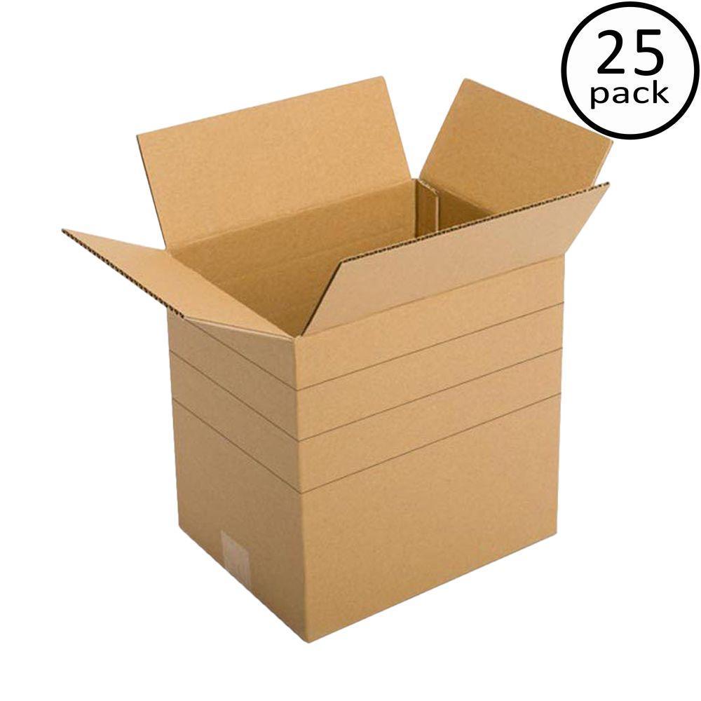 Plain Brown Box 11-1/4 in. x 8-3/4 in. x 12 in. Multi-depth 25-Box Bundle