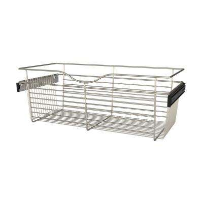 30 in. x 11 in. Satin Nickel Closet Pull-Out Basket