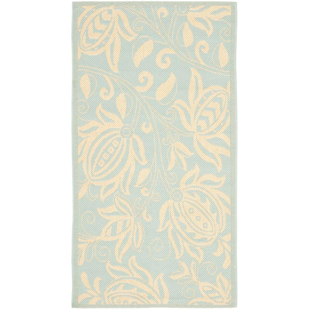 Safavieh Courtyard Aqua/Cream 2 ft. 7 in. x 5 ft. Indoor/Outdoor Area Rug