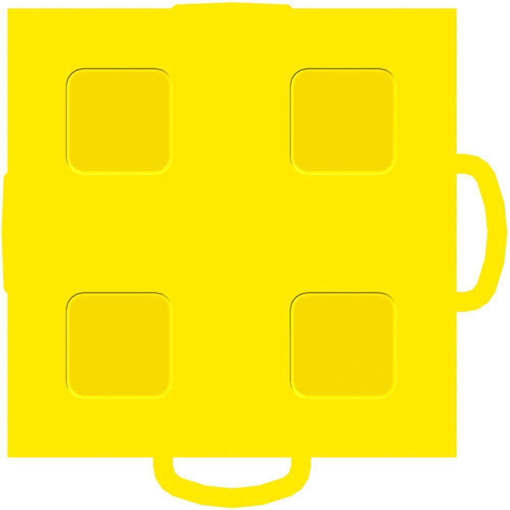 WeatherTech TechFloor 3 in. x 3 in. Yellow/Yellow Vinyl Flooring Tiles (4-Pack)