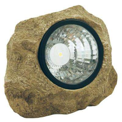 Solar Powered 35-Watt Poly-Resin Outdoor Integrated LED Landscape Rock Spot Light with Hidden Compartment