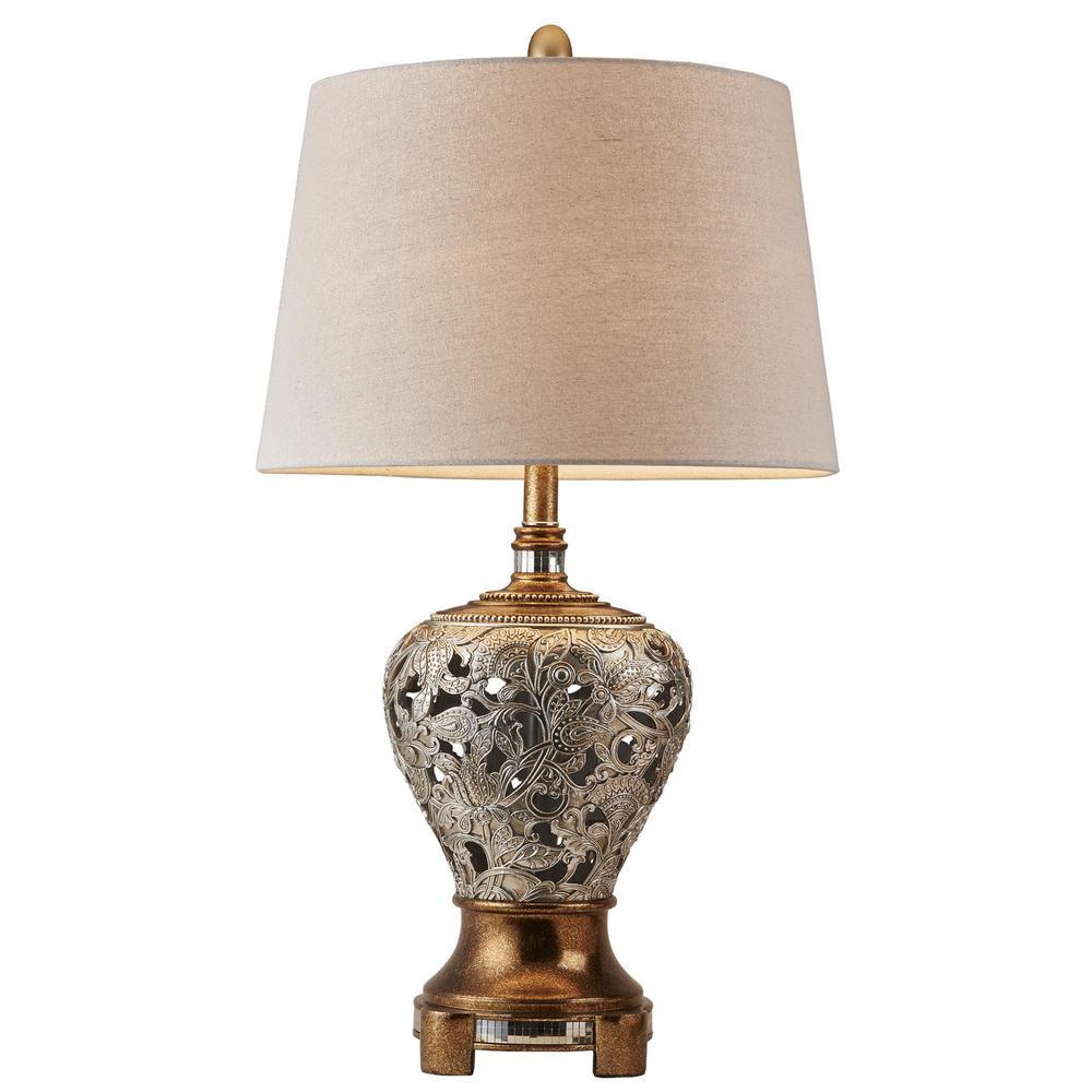 ORE International Langi 25 in. Silver/Brown Table Lamp