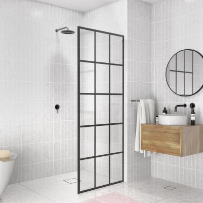 French Monture Noir 30 in. W x 78 in. H Fixed Single Panel Frameless Shower Door in Matte Black with Clear Glass