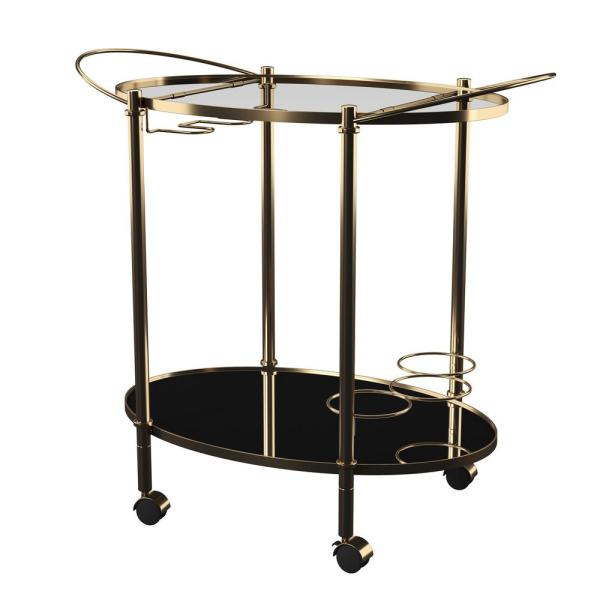 Montane Gold Bar Cart with Mirrored Tops