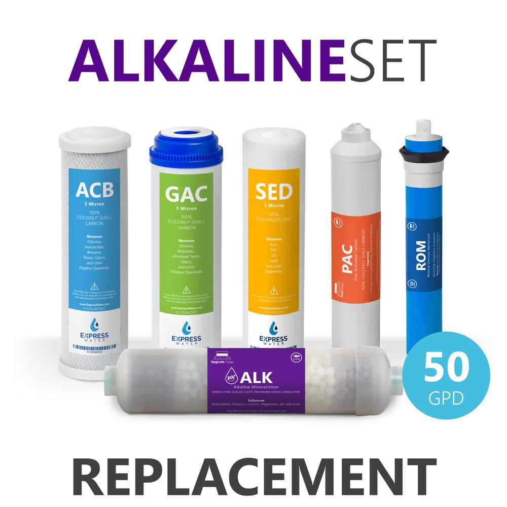 Express Water 1 Year Alkaline Reverse Osmosis Set - 6 Filters w/ 50 GPD RO  Membrane, Carbon (GAC, ACB, PAC), Sediment (SED) Filters