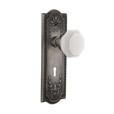 Meadows Plate Interior Mortise Waldorf White Milk Glass Knob in Antique Pewter
