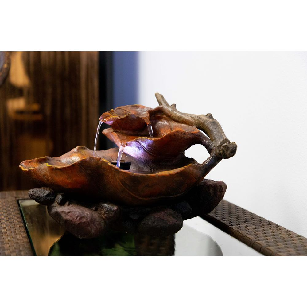 Alpine Corporation Tabletop Leaf Fountain with White LED Lights