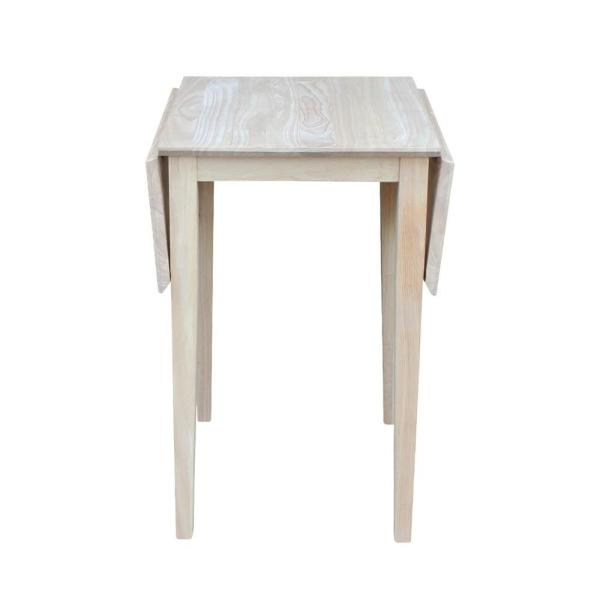 International Concepts Small Drop Leaf Wood Unfinished Dining Table