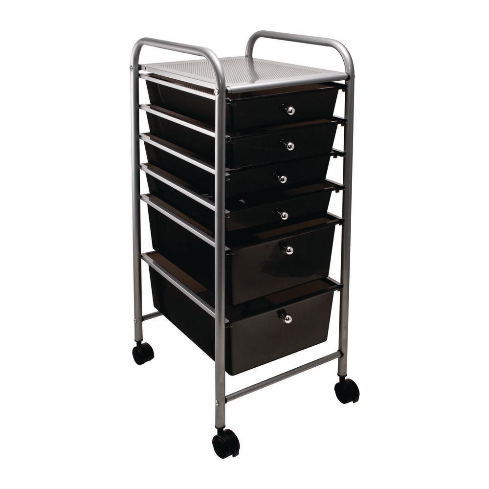 6-Drawer Metal File Organizer Cart in Smoke