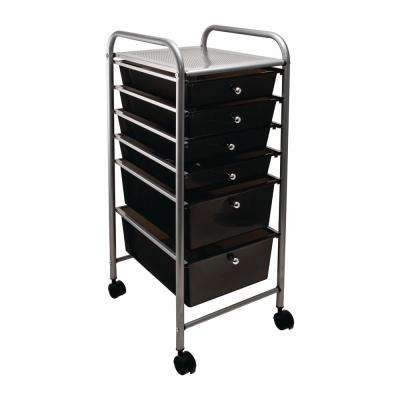 6-Drawer Metal File Organizer Cart in Smoke