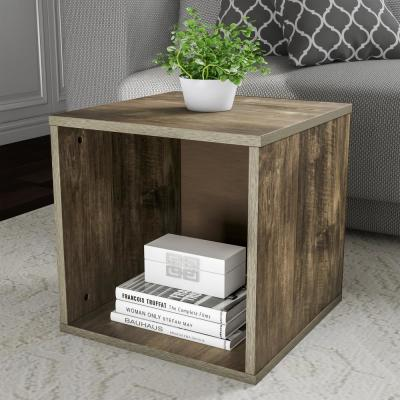 Gray Open Front Modular Cube End Table