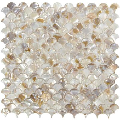 Fish Scale Glossy Mosaic Wall Tile Backsplash Stone  in Mother of Peal Warm White 11.8 in. x 11.8 in.(9.7 sq. ft /box )