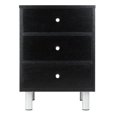 Daniel Accent Table with 3 Drawers in Black Finish
