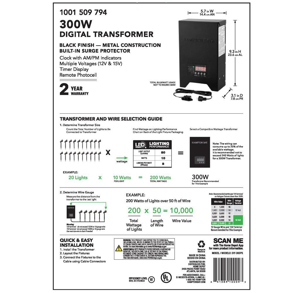 outdoor lighting transformer wiring diagram hampton bay low voltage 300 watt landscape transformer diy 300ps  hampton bay low voltage 300 watt