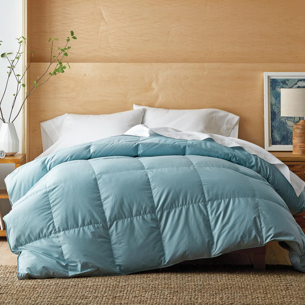 The Company Store White Bay Medium Warmth Cloud Blue King Down Comforter