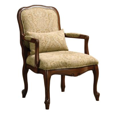 Waterville  Beige Traditional Style Dark Cherry Frame Accent Chair