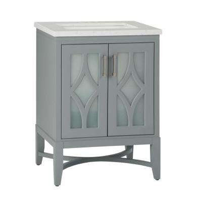 Bristol 24 in. Bath Vanity in Grey with Engineered Marble Extra Thick Vanity Top in Carrara White with White Basin