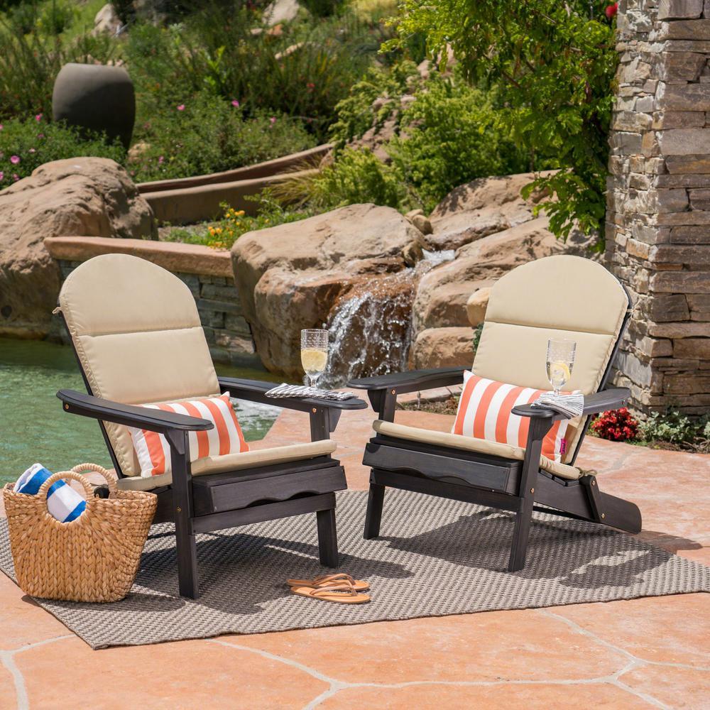 Malibu Dark Gray Folding Wood Adirondack Chairs with Khaki Cushions (2-Pack)