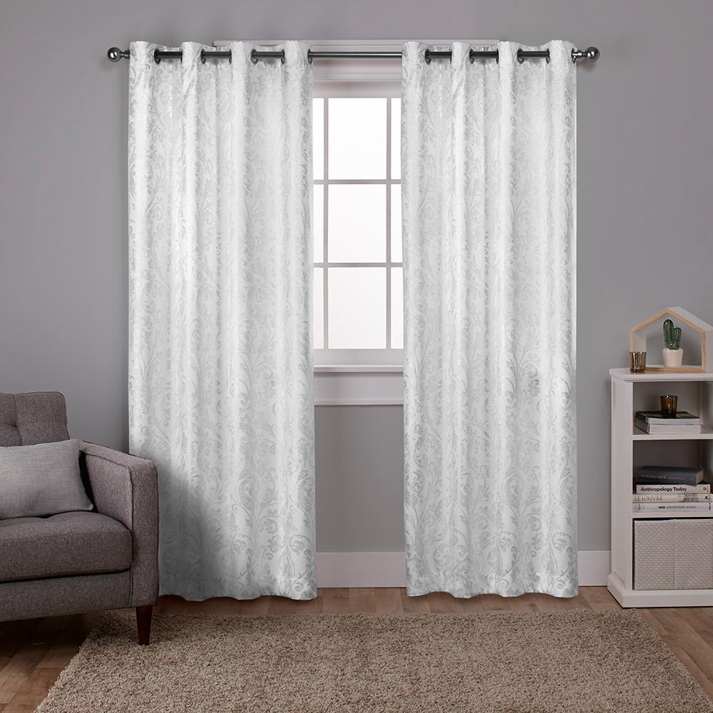 Watford Winter White Silver Distressed Metallic Print Thermal Grommet Top Window Curtain
