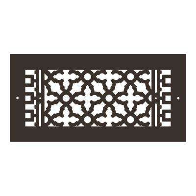 Scroll Series 14 in. x 6 in. Aluminum Grille, Oil Rubbed Bronze with Mounting Holes