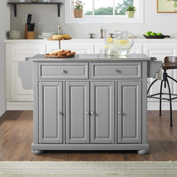 Crosley Furniture Alexandria Kitchen Island With Stainless Steel