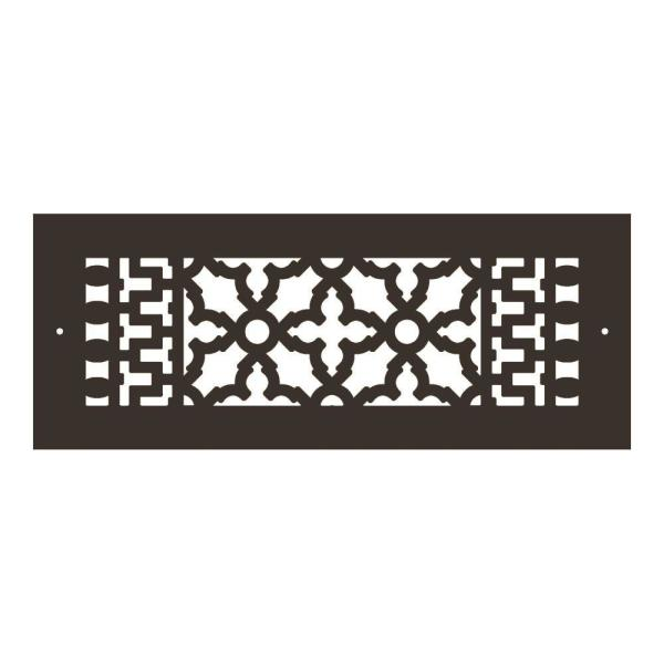 Reggio Registers Scroll Series 12 In X 4 In Aluminum Grille Oil Rubbed Bronze With Mounting Holes 614 Arbh The Home Depot