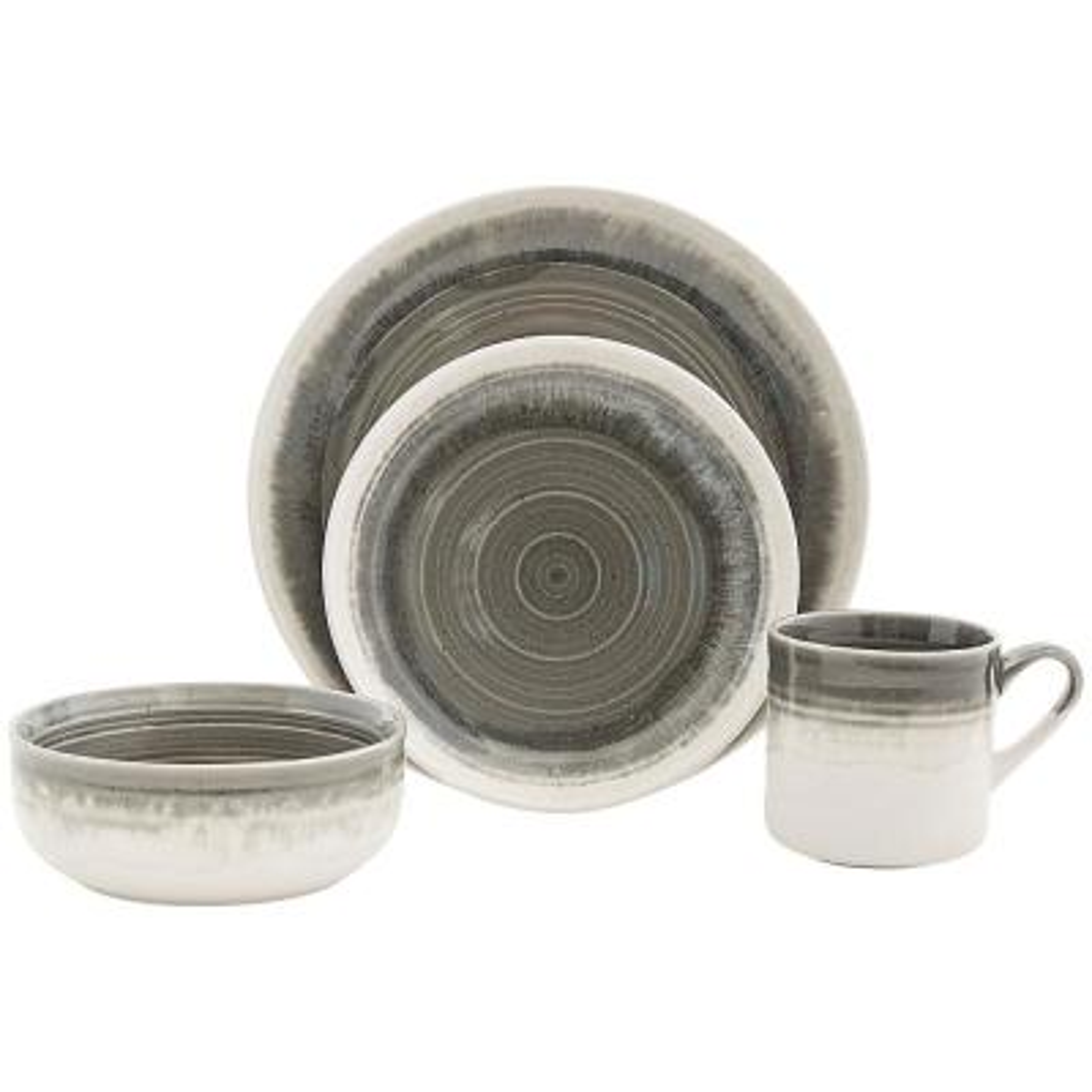 Hearth 16-Piece Casual Grey Ceramic Dinnerware Set (Service for 4)