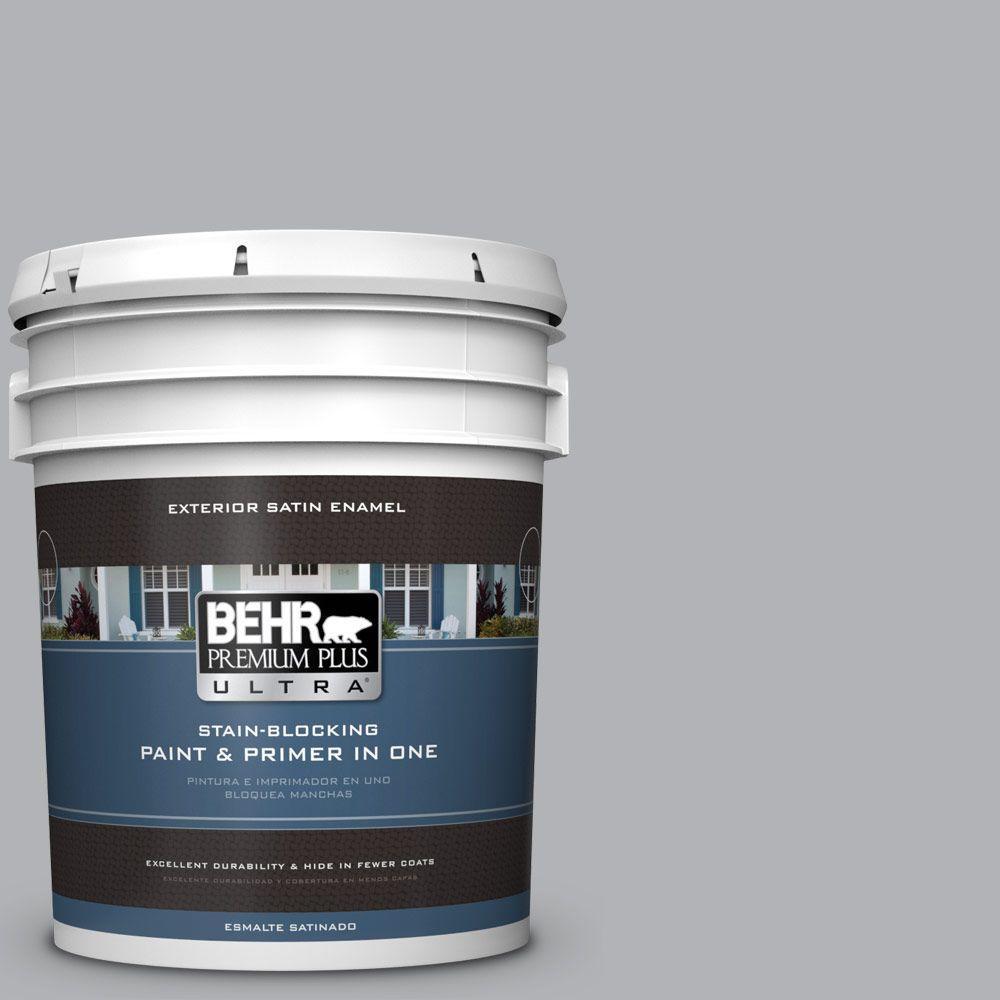 BEHR Premium Plus Ultra 5-gal. #770E-3 Pewter Mug Satin Enamel Exterior Paint